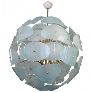 """L65  Lampadario """"sputnik""""  in vetro di murano e ottone"""