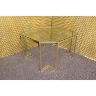 T 138  Tavolino da salotto in vetro e ottone