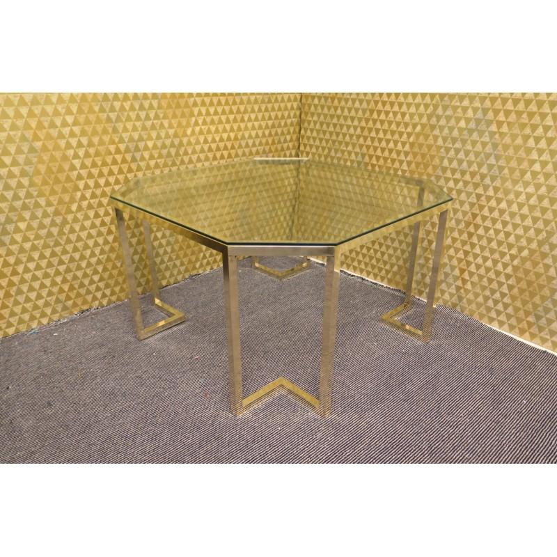 Tavolino da salotto in vetro e ottone