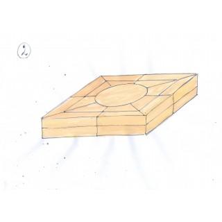 N 10 Tavolino da salotto rivestito in pergamena verniciata in resina