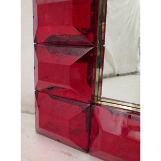 SP 26 coppia di specchi in vetro rosso e ottone
