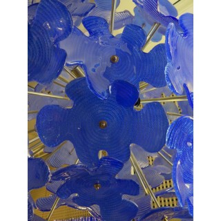 L 72   lampadario  Sputnik in vetro di Murano color blu