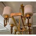 L 73  Lampadario  rettangolare in ottone e vetro di Murano