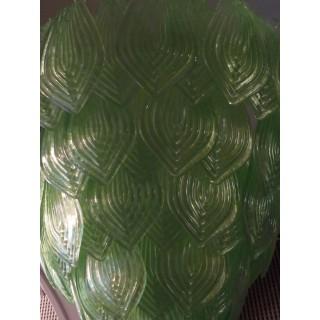 L 75 Lampadario con foglie di Murano color verde
