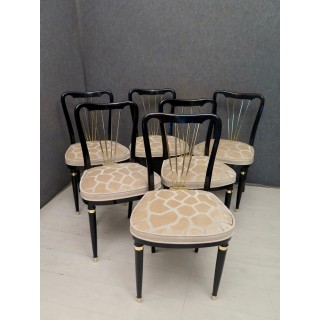 SD 54  Sei sedie Art Decò in lacca nera e ottone