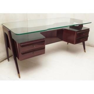 SC 36  scrivania lastronata in legno di noce con piano in cristallo