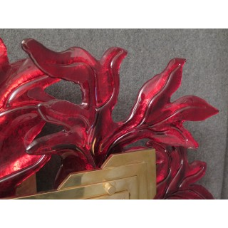 SP 29  Specchio color rosso in vetro di murano