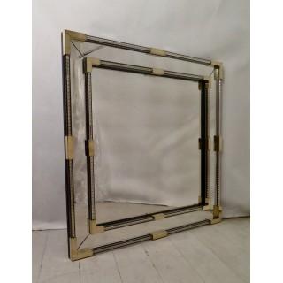 SP 31  Specchio  di forma quadrata in vetro di Murano e ottone