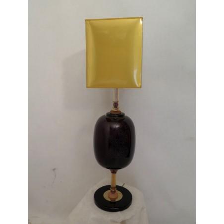 LT 112 Coppia di lampade di vetro di murano color melanzana e ambra