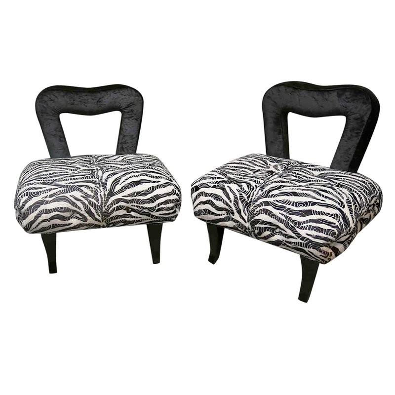 P 57  Poltroncine in velluto zebrato