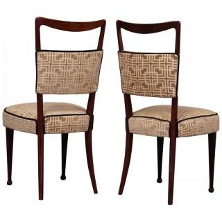 SD 50  Coppia di 2 sedie in legno di rosa rivestite