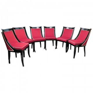 SD 40  Gruppo di sei sedie in legno laccato nero