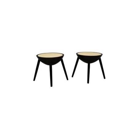 T 151  Coppia di tavolini in lacca nera