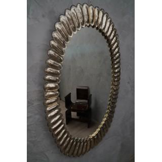 SP 33 Coppia di specchi dalla forma ovale in vetro di Murano color argento
