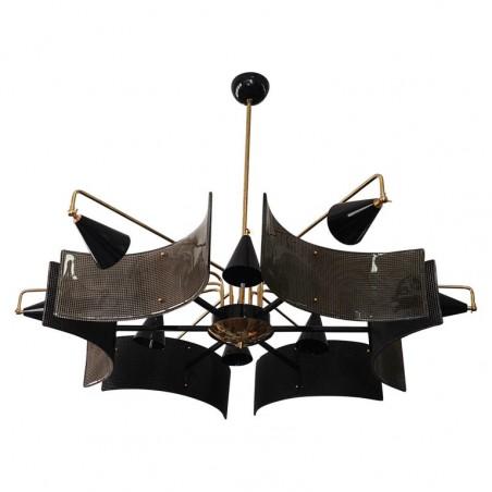 L 84 Lampadario di Murano in vetro e ottone