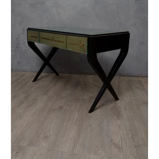 SC 35  scrivania con piano in ottone e vetro