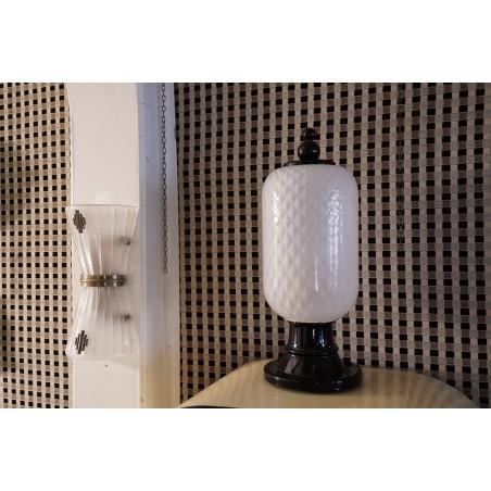 LT 111  Coppia di lampade in vetro di murano color bianco e nero