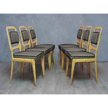 SD 57 Gruppo di sei sedie in legno di acero, 1950