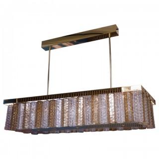 L 86 Lampadario rettangolare in ottone e vetro di Murano