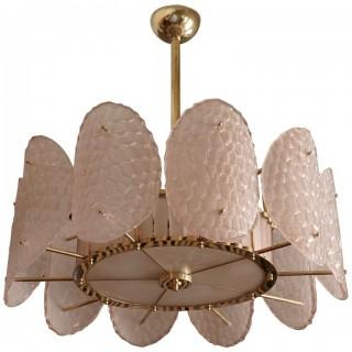 L 89 Lampadario di Murano in vetro color rosa cipria