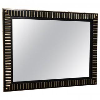 Specchio rettangolare scanalato interamente in lacca nera