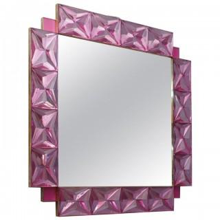 V 15 Specchio quadrato in vetro di Murano