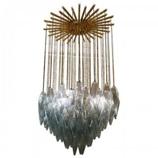L 94 Lampadario in ottone e vetro di Murano color salvia