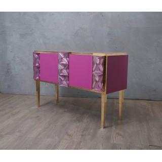 CR176 Credenza in vetro rosa e ottone